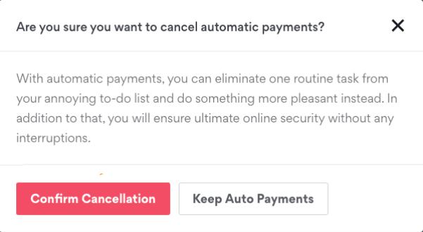 Select Confirm Cancellation