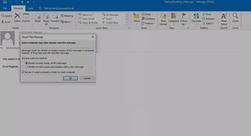 Select Delete Unread Copies or replace