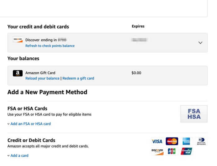 Select Down Arrow - Remove your Credit Card from Amazon