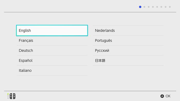 Select Language - Set Up Nintendo Switch