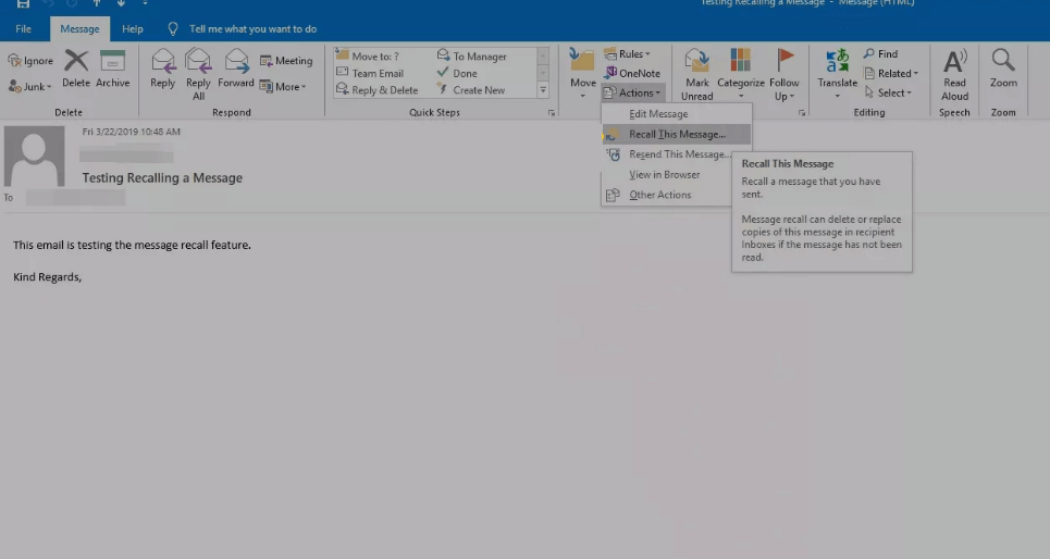 Select Recall This Message - Unsend an Email in Outlook