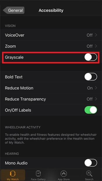 greyscale - How to save battery on  Apple Watch