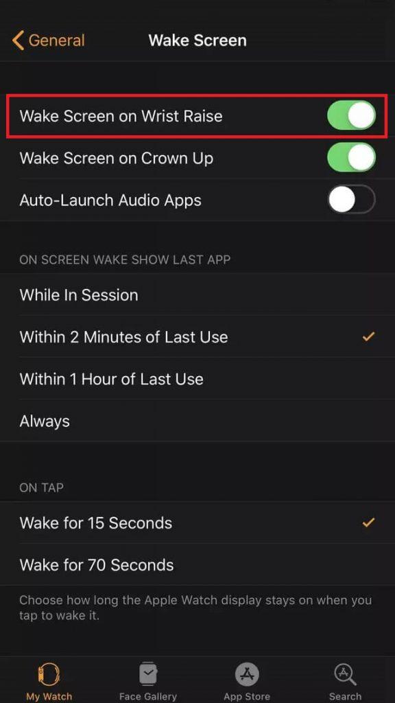 wake screen on wrist raise