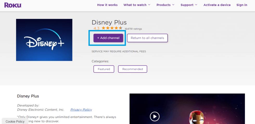 Add Disney Plus on Roku Channel Store