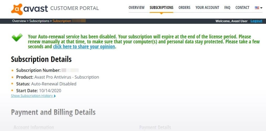 Auto Renewal Disabled - Cancel Avast Subscription