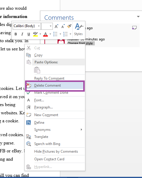 Delete Single Comment on MS Word