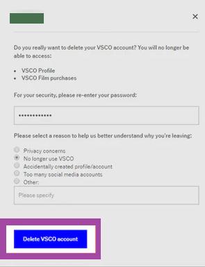 Delete VSCO account - Confirm