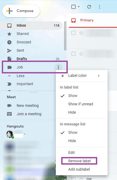 Edit Options Label
