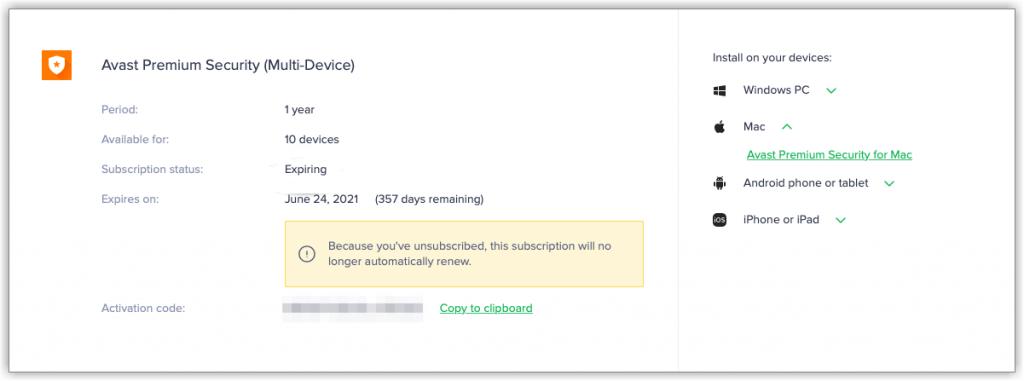Expiring or Expired - Cancel Avast Subscription