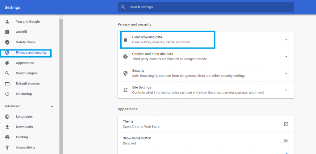 Google Chrome - Privacy and Security section