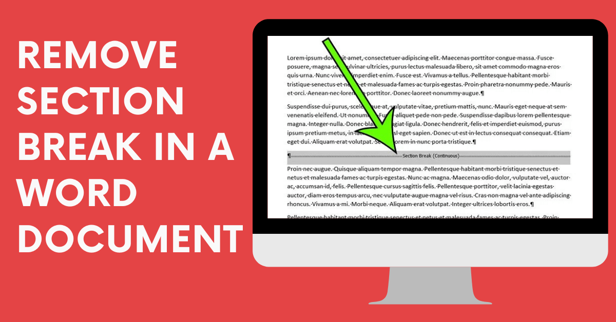 How to Remove/Delete Section Break in a Word Document