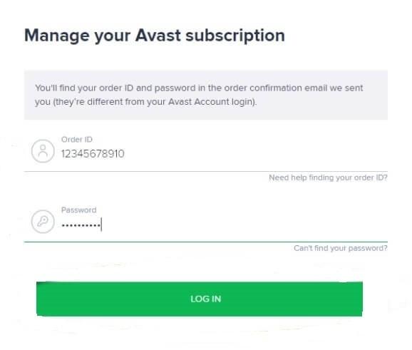 Login - Cancel Avast Subscription
