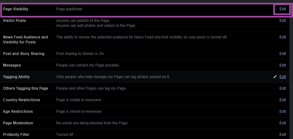 Manage Page Settings