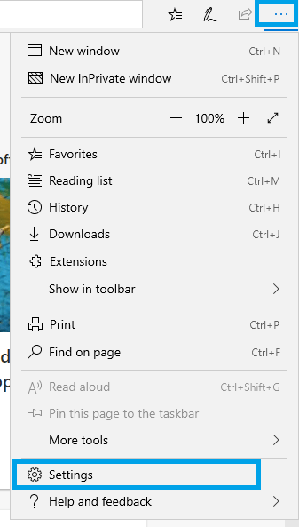 Microsoft Edge - Menu
