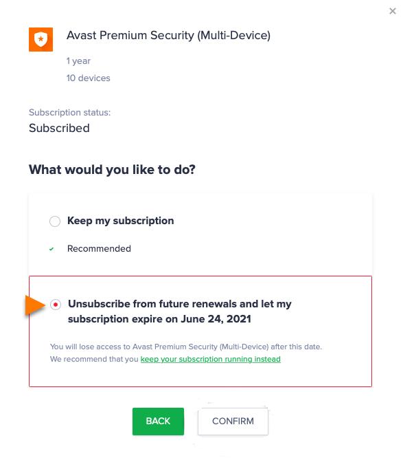 Select Confirm - Cancel Avast Subscription