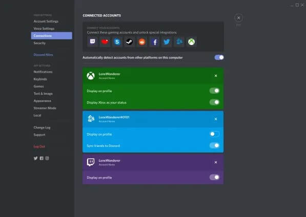 Select Connections - Discord on Xbox