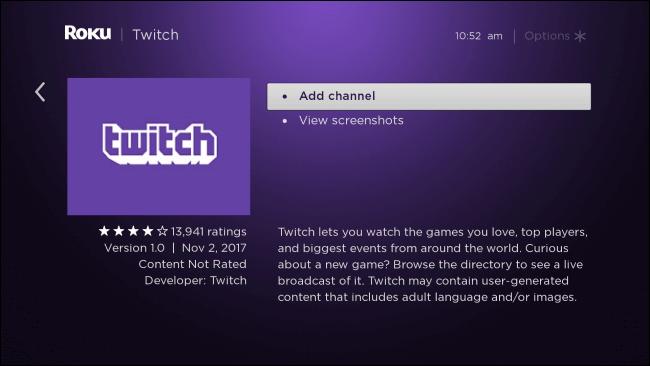 Click Add Channel - Twitch on Roku
