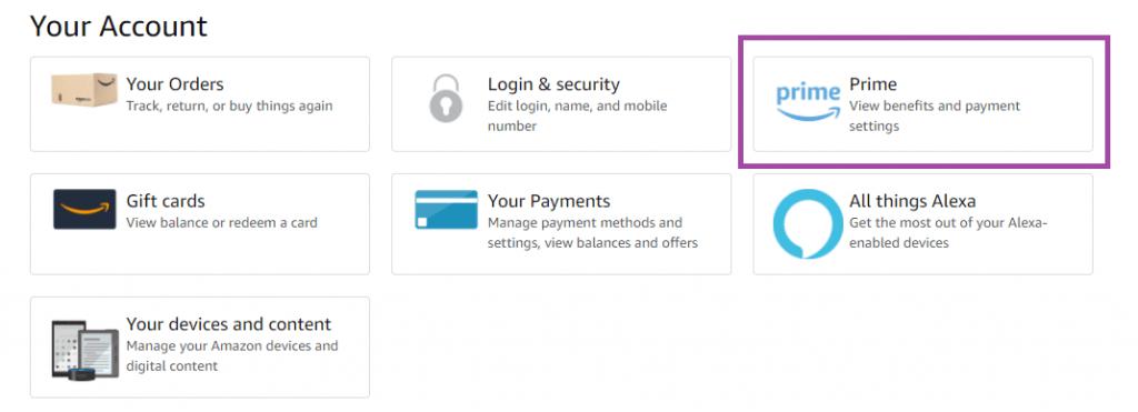 Your Account - Amazon Prime