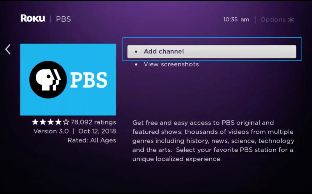 Add PBS on Roku