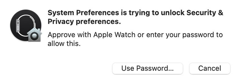 Approve authentication with Apple Watch