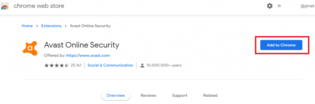Avast Security Extension on Chrome Store