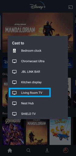 Choose the Chromecast Device