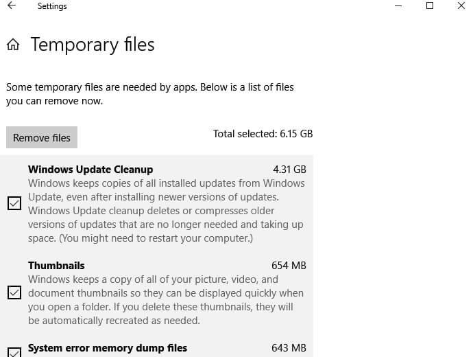 Remove File - Delete Temporary Files in Windows 10