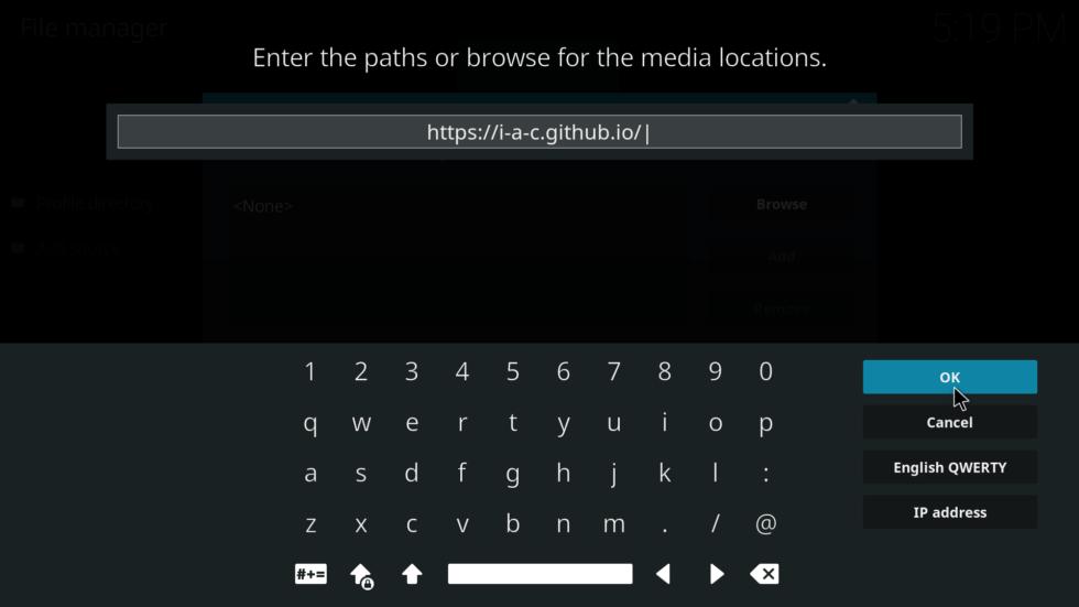 Enter URL source  - Install Exodus on Firestick