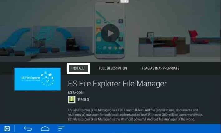 Install ES File Explorer on Shield