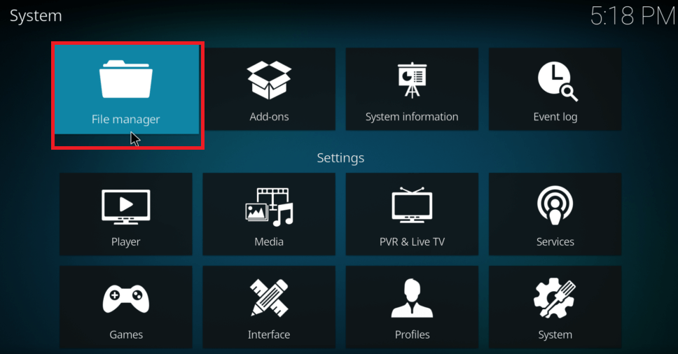 Kodi Settings - File Manager