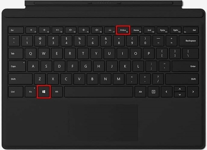 Screenshot on Surface Pro with Keyboard