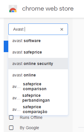 Search Avast on Chrome Store