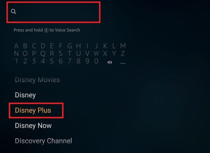 Search Disney Plus on Amazon Firestick