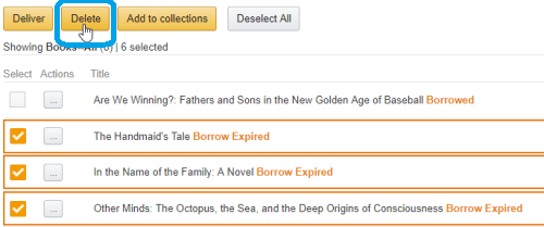 Select the books on Kindle Content library