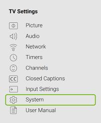 Vizio TV Settings - System