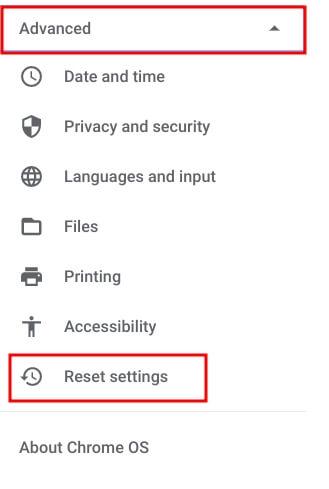 reset settings
