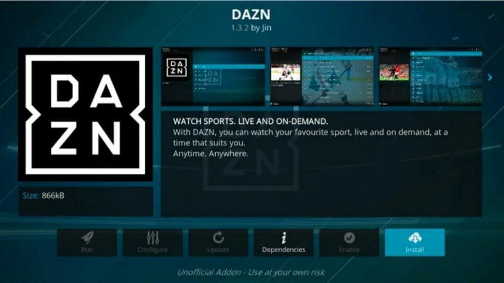 Install Dazn from Kodi