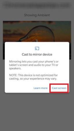 Click on Cast Screen to Chromecast Skype