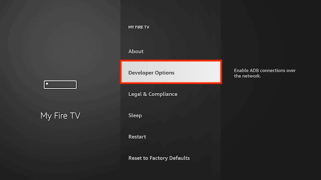 go to developer options to install Filelinked on Firestick.