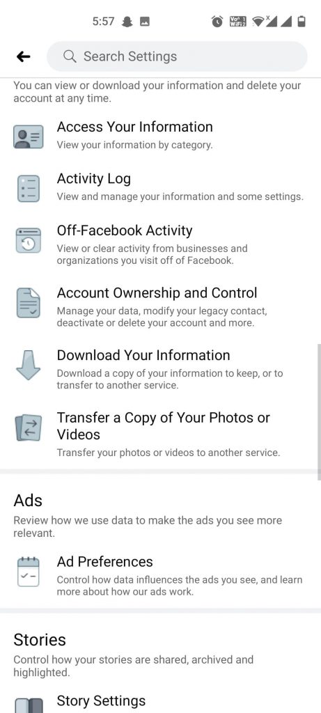 Privacy features in Facebook