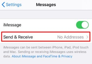 Select send&receive to change Apple ID on Apple password