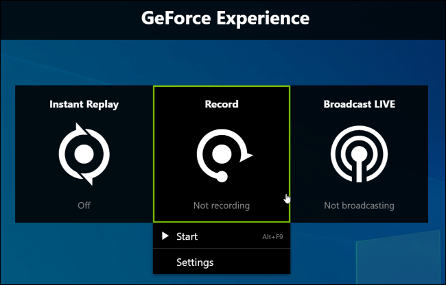 Click on record to enable ShadowPlay