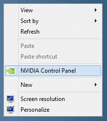 Right click on desktop to open Nvidia control panel