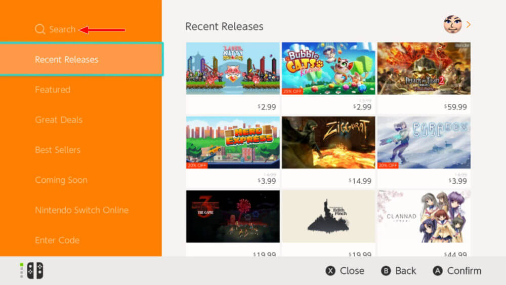 Click on search to install Hulu on Nintendo Switch