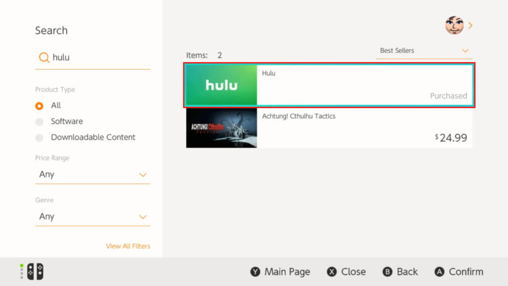 Select Hulu from the results to install Hulu on Nintendo Switch