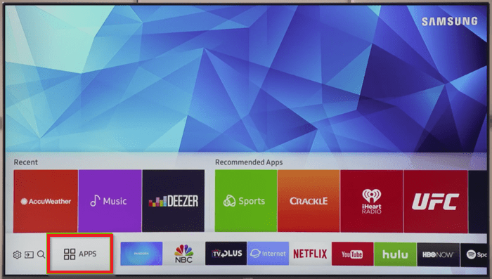 Click on Apps to install Hulu on Samsung TV