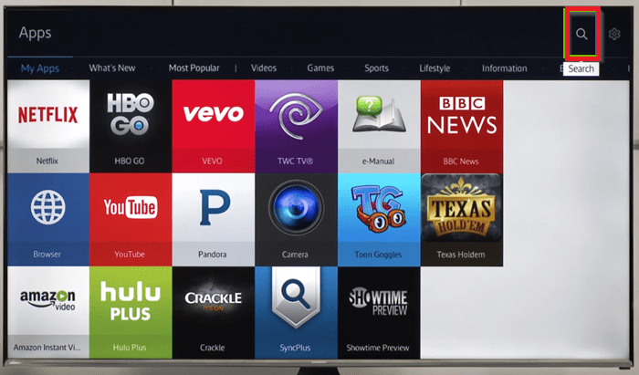 select search icon to install Hulu on Samsung TV