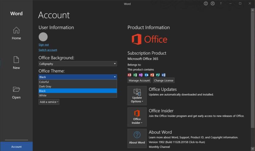 Enable Dark Mode on Microsoft Word