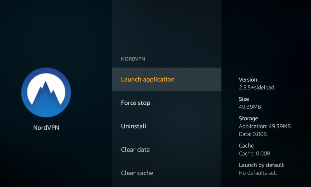 Launch application to open NordVPN on Firestick