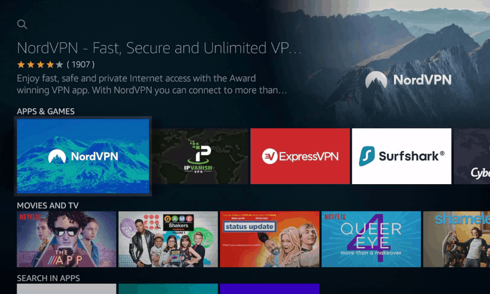 Search for NordVPN  on Firestick